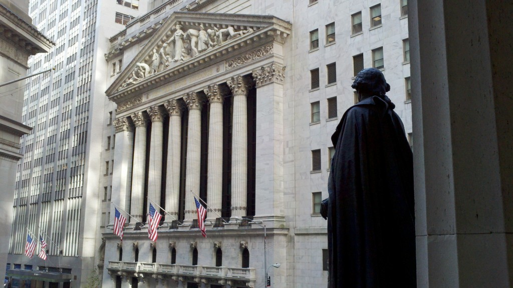 George Washington watches solemnly down on the New York Stock Exchange