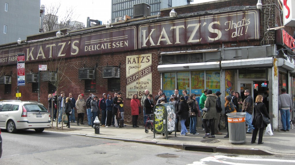 The line for the famous Katz's Deli can stretch halfway down the block.