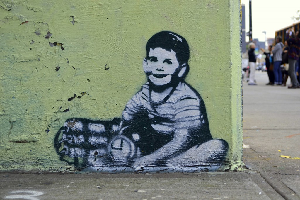 This obscure piece may be a work of Banksy, the world's most famous street artist
