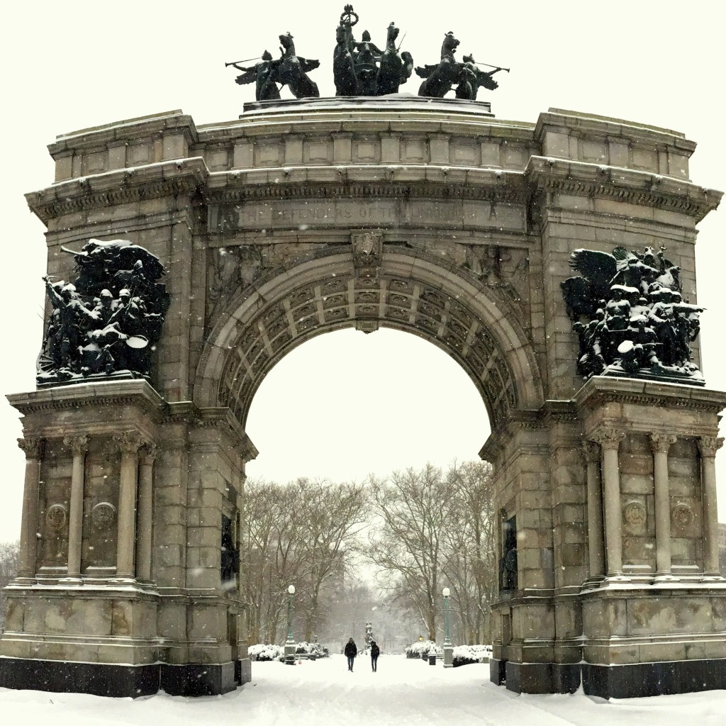 Brooklyn's majestic Grand Army Plaza in a blizzard